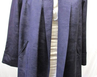 Vintage 1940's Swing Coat Dark Blue Faille Jacket Spring Coat Lightweight Mary-Lane Coats and Suits Small Medium or Large