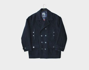 1980's Bossini Navy Oversized Pea Coat