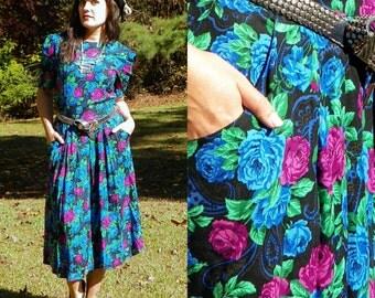 1980s Vintage Violet Blue Rose Print Grunge Dress Drop Waist with Pockets Pleated Skirt S/M
