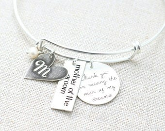 Mother of the Groom Gift - Adjustable Charm Bangle - Thank You For Raising the Man of My Dreams - Personalized Wedding Jewelry -