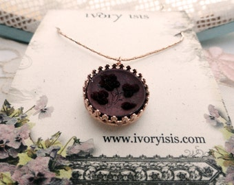 Rare Mint Condition Uncirculated Perfume Button Necklace in Rose Gold Setting with Rose Gold Chain