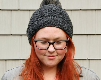 Faux Fur Pom Pom Textured Beanie Hat - Charcoal and Black