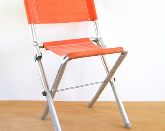 1970's Vintage Folding Camp Seat • Aluminum with Neon Orange Canvas • Vintage Camping