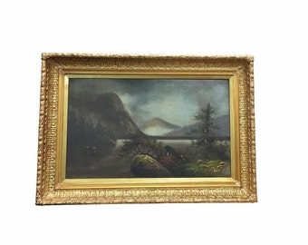 1890s Framed Oil, Landscape Painting, Antique Dramatic Art