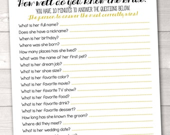 Instant Download Bridal Shower Game How Well Do You Know the Bride Black & Gold Polka Dot Confetti Printable PDF