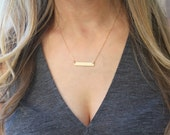Dainty Gold Bar Necklace, Gold Bar Initial Necklace, Gold Necklace, Custom Name Necklace, Personalized Necklace, The Silver Wren