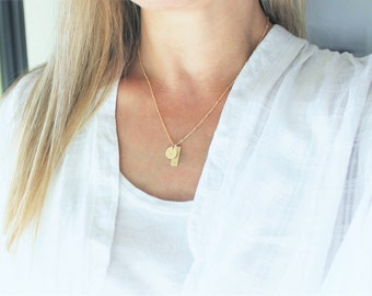 Personalized Initial Necklace, Dainty Initial Necklace, Rose, Silver or Gold Necklace, Personalized Jewelry, Initial Charm Necklace