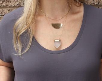 Gold Necklace, Gold Pendant Necklace, Large Half Moon Necklace, Layering Necklace, Simple Necklace, Hammered Necklace