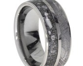 Special Titanium Ring with Gibeon Meteorite and Ash Inlay, Pet Memory Ring