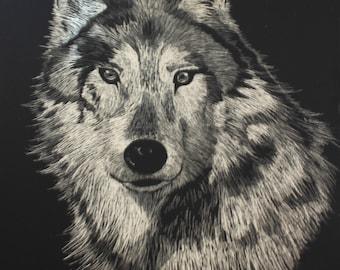 Wolf Scratch Art