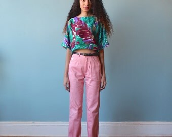 high waist pink pants / high waisted pink trousers / 1970s / small