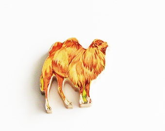 1960s Camel Brooch - Pin / Unique Gift Under 50 / Upcycled Vintage Hand Cut Wood Jewelry / Brown Wood Jungle Desert Animal