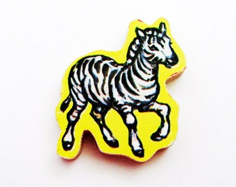 Zebra Brooch - Lapel Pin / Yellow - Black - White Brooch / Upcycled 1960s Wood Puzzle Piece / Whimsical Wood Brooch / Unique Gift Under 20