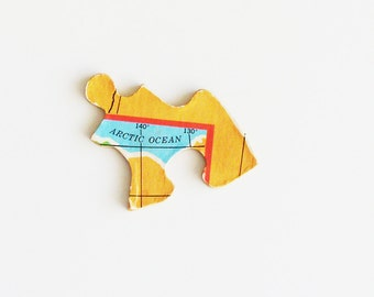 Arctic Ocean Brooch - Pin / Upcycled 1961 Wood Puzzle Piece / Unique Wearable History Gift Idea / Fun Timeless Gift Under 20