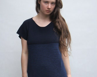 Striped Blouse - Baggy Oversize Sweater - Loose Tunic - Striped Blue Top - Merino Wool Women's Clothing - Blue and Navy Blue Stripes