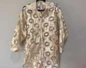 Gold Lame Blouse, Vintage Gold Blouse, Oversize See Through Blouse, Crazy Gold Shirt, Sheer Gold Disco Blouse, Playa Wear XXL Gold Tunic