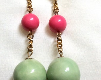 Vintage Pink and Green Pierced Dangle Earrings