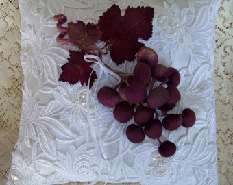 Guipure Lace with Vintage Silk Grapes Ring Bearer Pillow