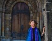 felted scarf, felt scarf, nuno, wool, silk, art, nunofelt, turqioise blue violet , kate ramsey felt