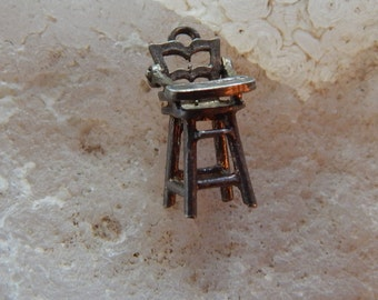 1940's Sterling Silver High Chair Charm - Dimensional - Movable Parts