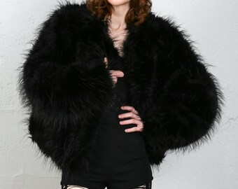 SALE- Faux Fur Coat & Muff . Black Jacket