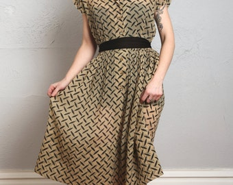 SALE- Crepe Dress in Tread Print