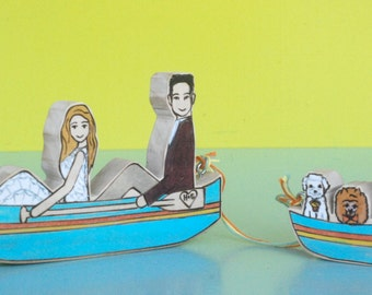 Custom Wedding Cake Topper Couple in Row Boat, Canoe or Kayak with Separate Boat for Three Pets