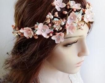 bridal headpiece, bridal hair piece, swarovski headpiece, bridal hair vine, pink flower crown, mint hair flower, pink and mint, blush, #89