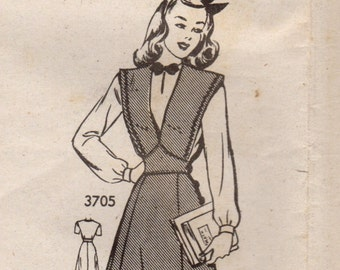 1940s Mail Order 3705 FF Vintage Sewing Pattern Junior Miss  Jumper and Blouse Size 15 Bust 33