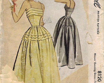 1950s McCall 8120 Vintage Sewing Pattern Misses Evening Gown, Formal Dress Size 10 Bust 28-1/2