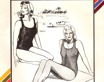 1980s Stretch & Sew 1321 UNCUT Vintage Sewing Pattern Women's Tank Swimsuit, Maillot, One Piece Swimsuit Size Bust 46-48-50-52-54-56