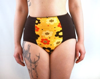 Panties with yellow retro floral print lingerie underwear