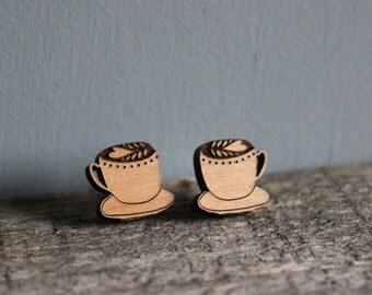 Coffee Cup Latte Stud Wooden Earrings