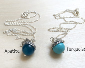 December Turquoise OR Apatite Gemstone Birthstone Acorn Necklace - Dec Birthday - Bridesmaids Jewelry - Mother's Day Gift - Christmas Gift