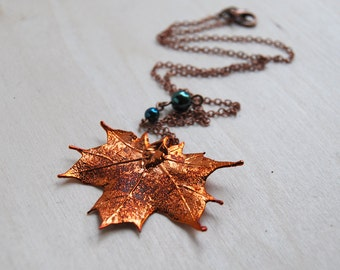 Small Fallen Copper Maple Leaf Necklace - REAL Maple Leaf