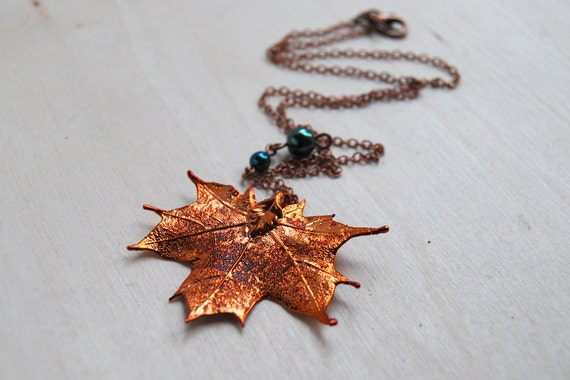 Fallen Copper Maple Leaf Necklace - REAL Maple Leaf