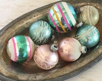 vintage glass Christmas ornaments soft pinks and greens - shabby cottage chic - med century shiny brite - set of 7 tree baubles balls bulbs