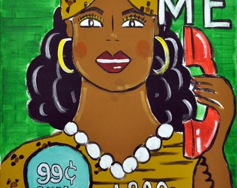 "Call Me- Psychic Hotline/Miss Cleo Infomercial Pop Folk Parody Painting, 16"" x 20"""