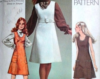 Vintage 70's Simplicity 9235 Sewing Pattern, Misses' Jumper or Dress in Two Lengths and Blouse, Retro Mod, Size 10 32 1/2 Bust, 1970's