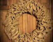 30 inch Burlap Wreath ~ Undecorated Burlap Wreath