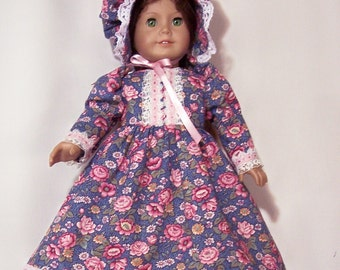 OLD FASHION PIONEER Dress and Bonnet - Blue with Pink Flowers and Lace