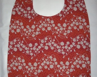 ADULT BIB Reversible -  Rust with White Floral Print