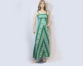 Vintage 70s Dress Empire Maxi Green White Floral Vicky Vaughn S