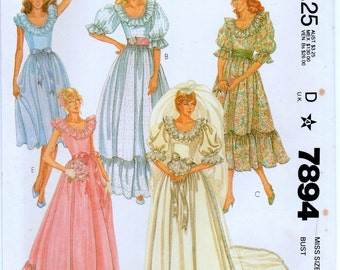 Vintage McCalls 7894  Misses Brides' and Bridesmaids' Gown Sewing Pattern Size 12 Bust 34