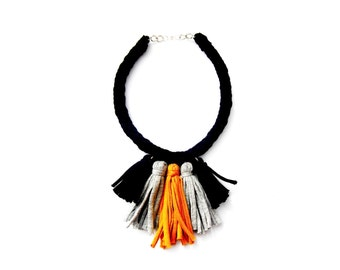 Tassel necklace, Fringe Necklace, Mustard Necklace, Tassel Jewelry, Tassel Accessories, Black Braided Necklace, Kumihimo Necklace.
