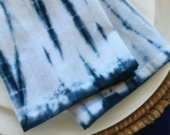Indigo Blue Shibori Style Napkins - Set of 4