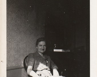 Original Vintage Photograph Older Woman in Chair Sunlight & Shadow  1940s