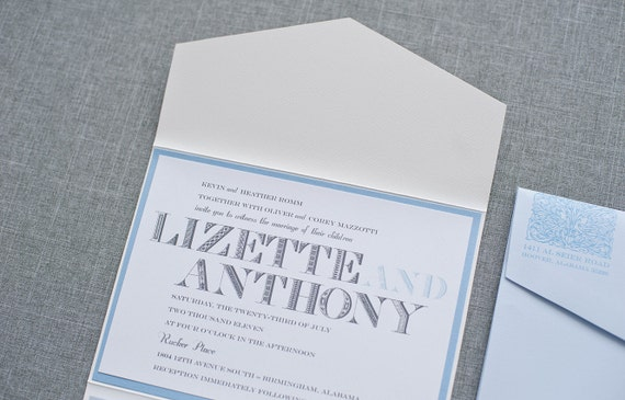 Vintage Wedding Invitation - Light Blue Pocket Invitation Suite - Formal Invitation, Classic Invitation, Custom - Lizette and Anthony