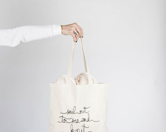 Screenprinted Canvas Tote Bag / Sail Out To Sea And Knit New Things