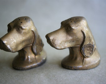 Vintage Brass Dog Head Salt and Pepper Shakers, Irish Setter, New York Souvenir, Statue of Liberty, Brass Plated Metal